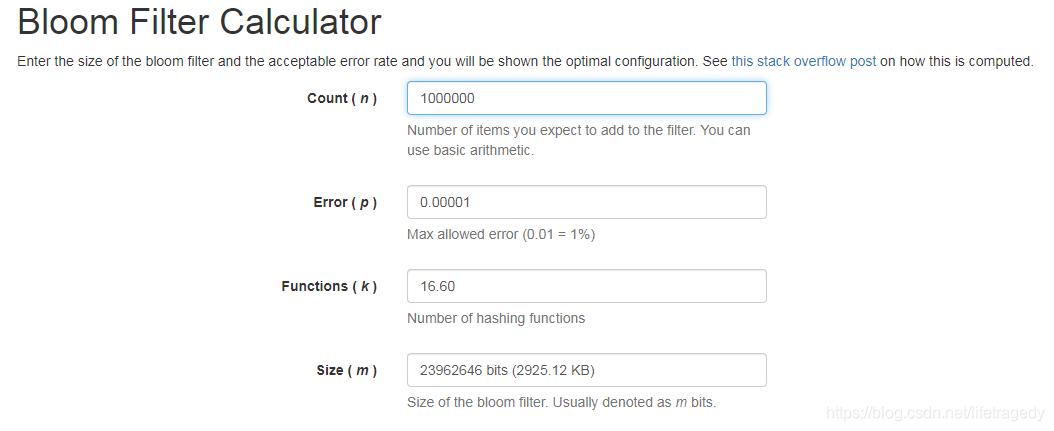 Bloom Filter Calculator